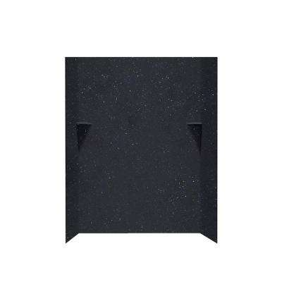 36 in. x 48 in. x 72 in. 3-Piece Easy Up Adhesive Alcove Surround in Crystal Black