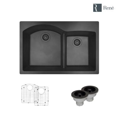 Granite Composite 33 in. 60/40 Double Bowl Drop-in Kitchen Sink in Carbon Sink Kit