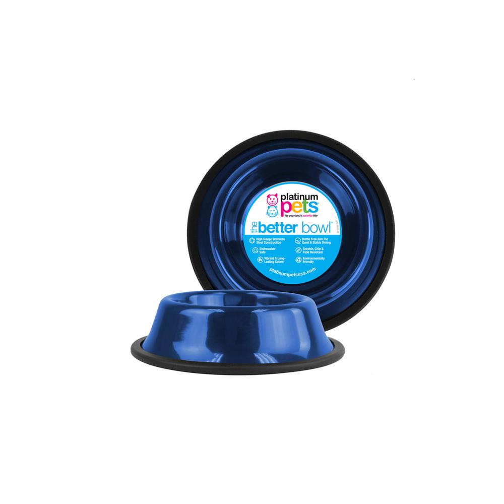 1.25 Cup Non-Tip Stainless Steel Dog/Cat Bowl, Sapphire Blue