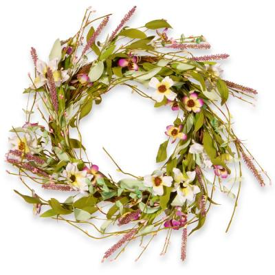 22 in. Purple and White Spring Wreath