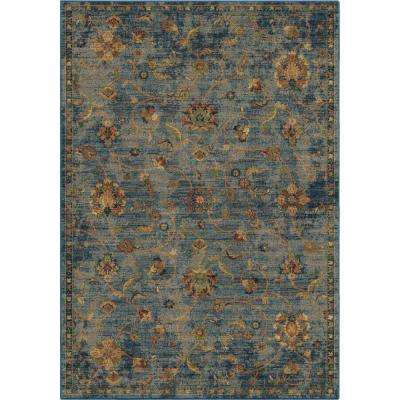 Vintage Vines Flowers Blue 7 ft. 10 in. x 10 ft. 10 in. Area Rug