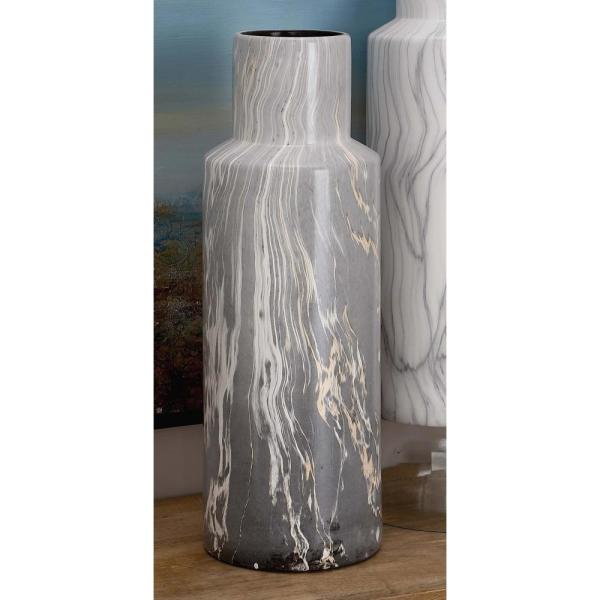 Litton Lane 21 in. Classic Marble Cylinder Forest Green Ceramic Decorative