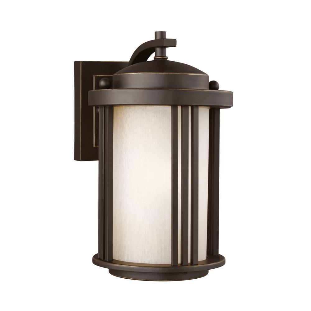 Crowell 1-Light Antique Bronze Outdoor Wall Mount Lantern with LED Bulb