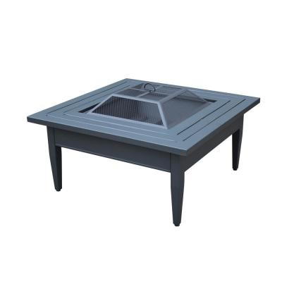 Riley 38 in. Square Steel Wood Burning Fire Pit Table