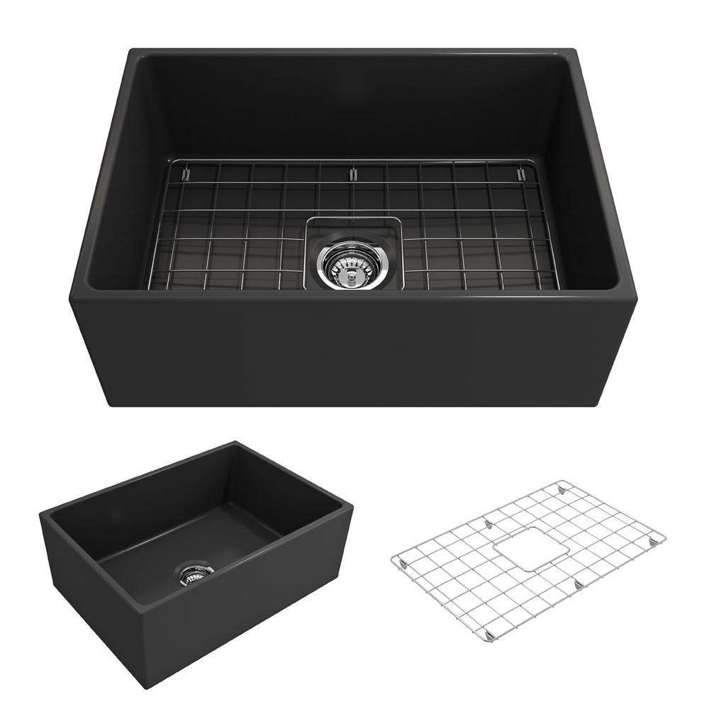 bocchi contempo farmhouse apron front fireclay 27 in  single bowl kitchen sink with bottom grid bocchi contempo farmhouse apron front fireclay 27 in  single bowl      rh   homedepot com