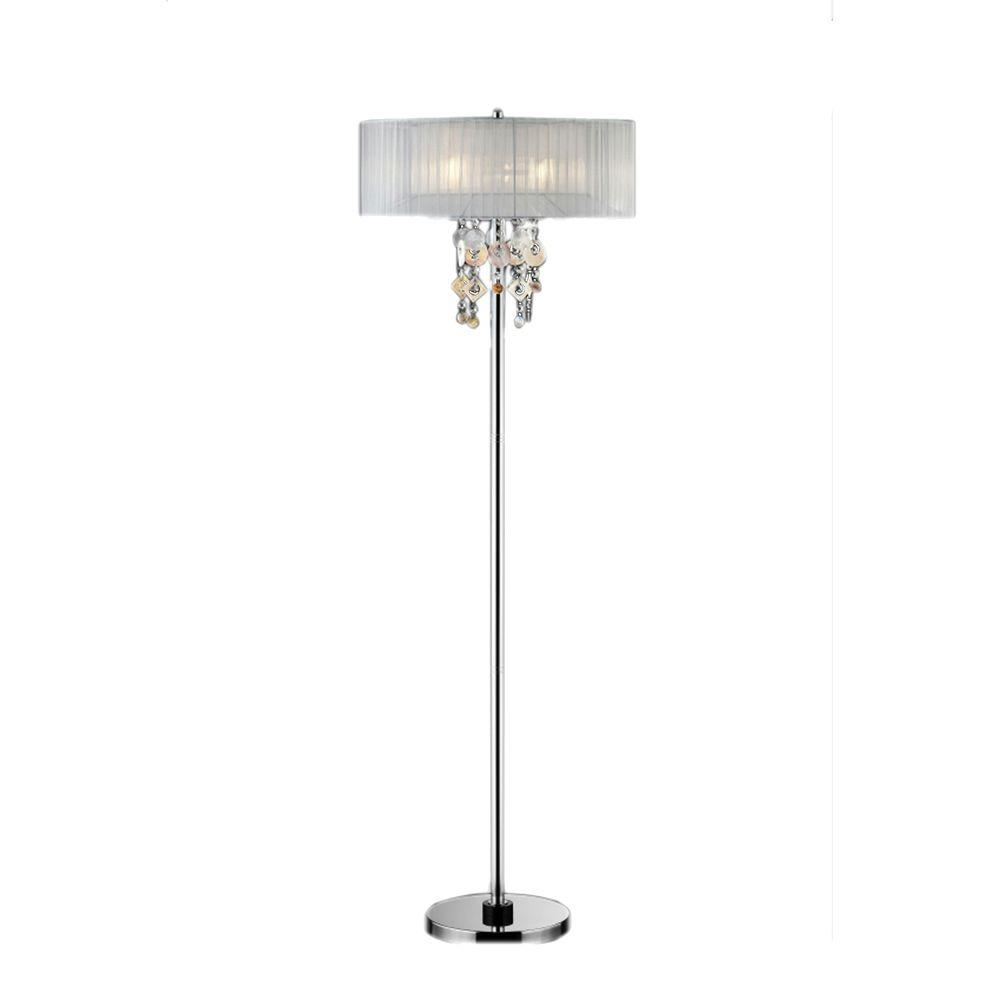 Silver Chrome Steel Moon Jewel Floor Lamp