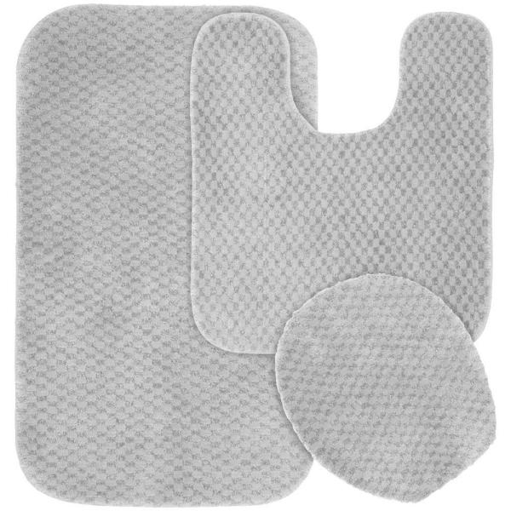 "Bathroom Rug Set Platinum Gray 21/"" x 34/"" 3 Piece Washable Nonskid Traditional"
