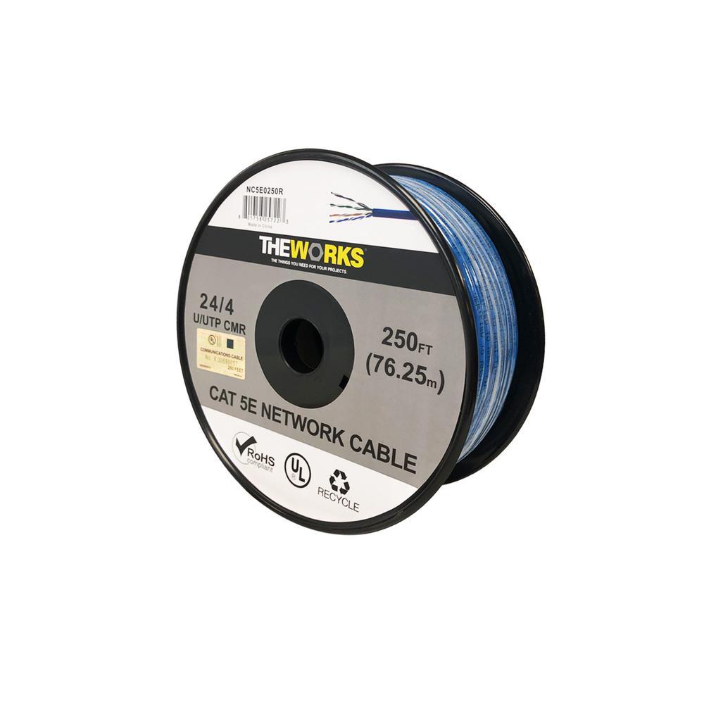Cat 5E 24/4 250 ft. BLUE U/UTP CMR UL DATA CABLE