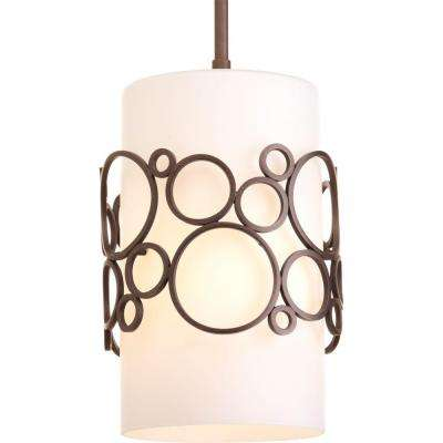 Bingo Collection 1-Light Venetian Bronze Mini Pendant with Opal Etched Glass