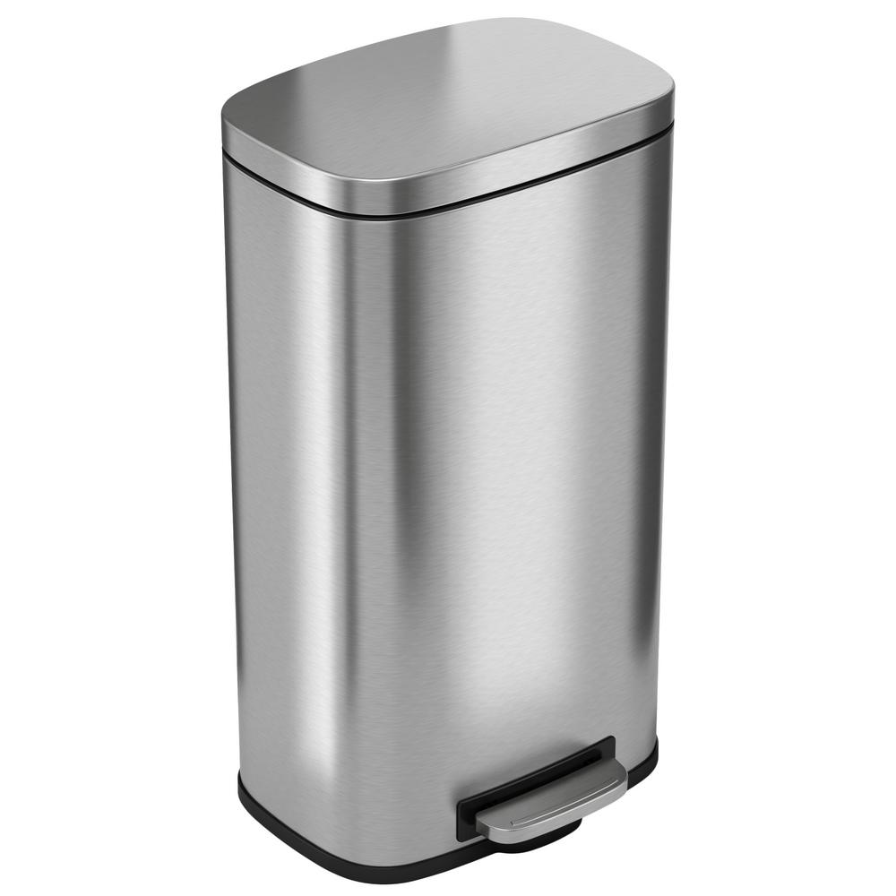 Stainless Steel Kitchen Garbage Can: ITouchless 30 Liter/8 Gal. SoftStep Stainless Steel Step