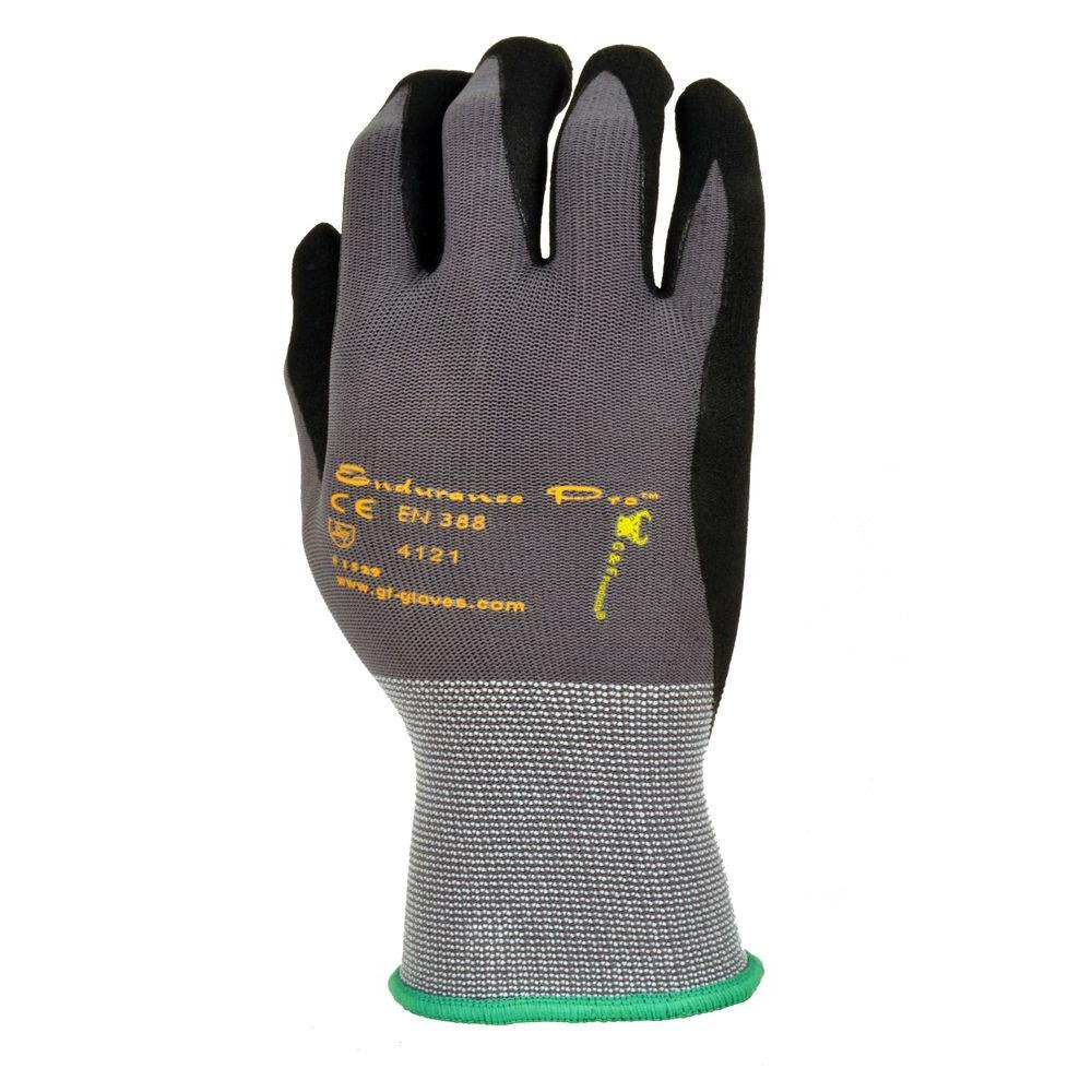 G & F EndurancePro Seemless Knit Nylon Men's Large Gloves in Black with Micro Form Nitrile Grip