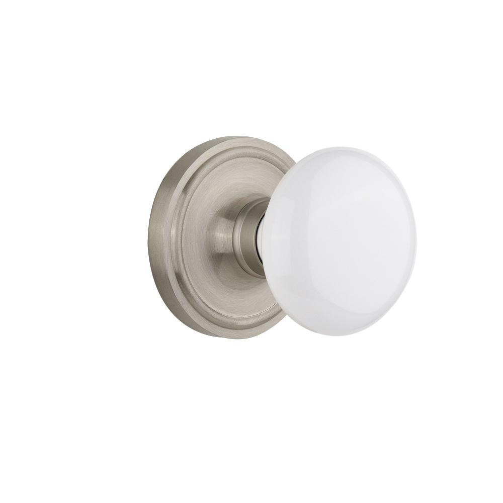 Nostalgic Warehouse Classic Rosette Single Dummy White Porcelain Door Knob  In Satin Nickel