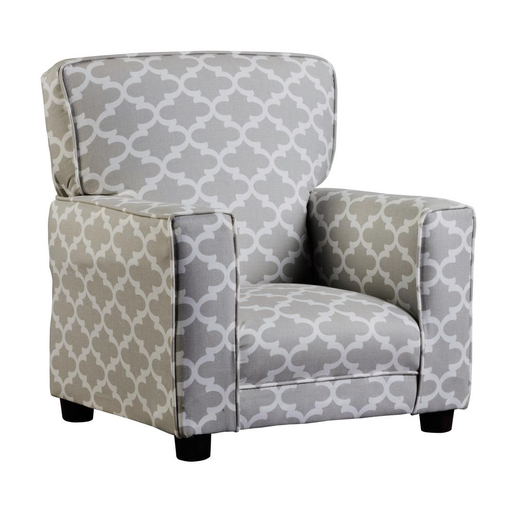 Incredible Coco French Gray And White Quatrefoil Upholstered Juvenile Kids Arm Chair Creativecarmelina Interior Chair Design Creativecarmelinacom