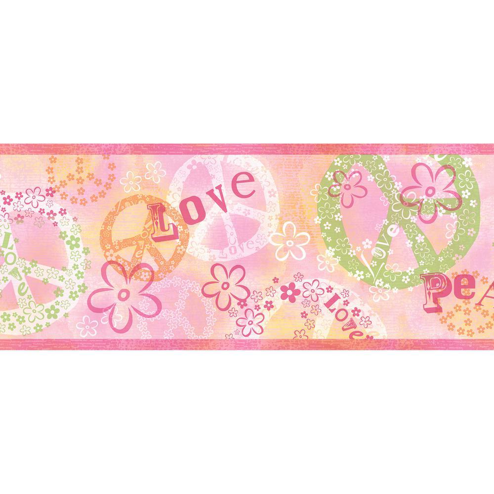 Janis Peace Love Toss Wallpaper Border