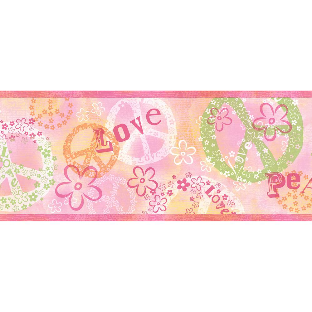Janis Pink Peace Love Toss Wallpaper Border Sample