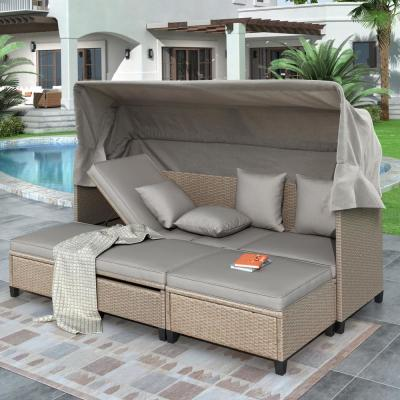 Brown 4 Piece UV-Proof Resin Wicker Patio Sofa Set with Retractable Canopy and Gray Cushions