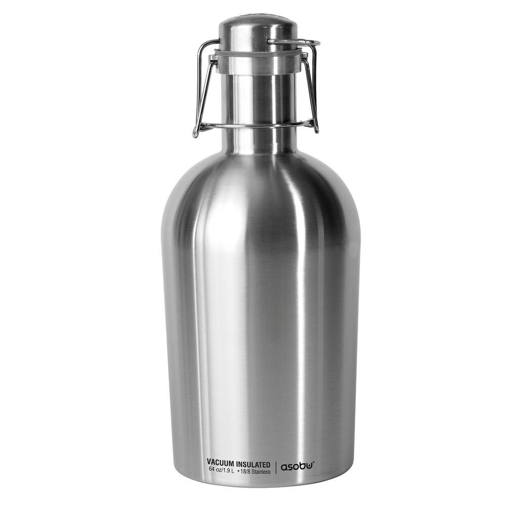 ASOBU Growler2Go 64 oz. Silver Water Bottle G2G SILVER