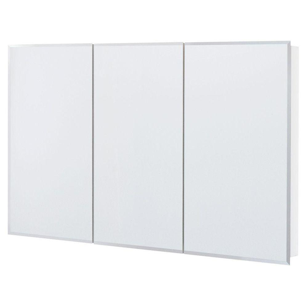 Glacier Bay 48 in. x 30 in. Frameless Surface-Mount Bathroom Medicine Cabinet in White