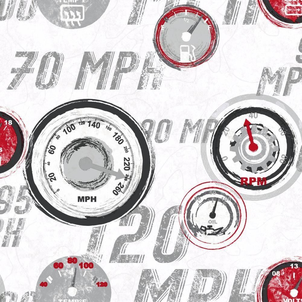 YORK Cool Kids Race Car Gauges Wallpaper, White/Gray/Red/...