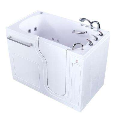 52 in. Acrylic Walk-In Whirlpool and Air Bath Bathtub in White w/ Right Door, Heated Seat, Fast Fill 3/4 in. Faucet