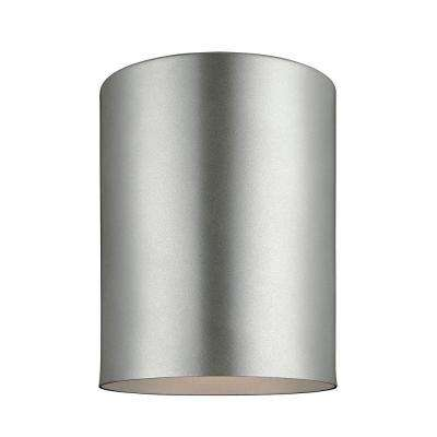 Outdoor Cylinders 6.625 in. Painted Brushed Nickel 1-Light Outdoor Ceiling Flushmount