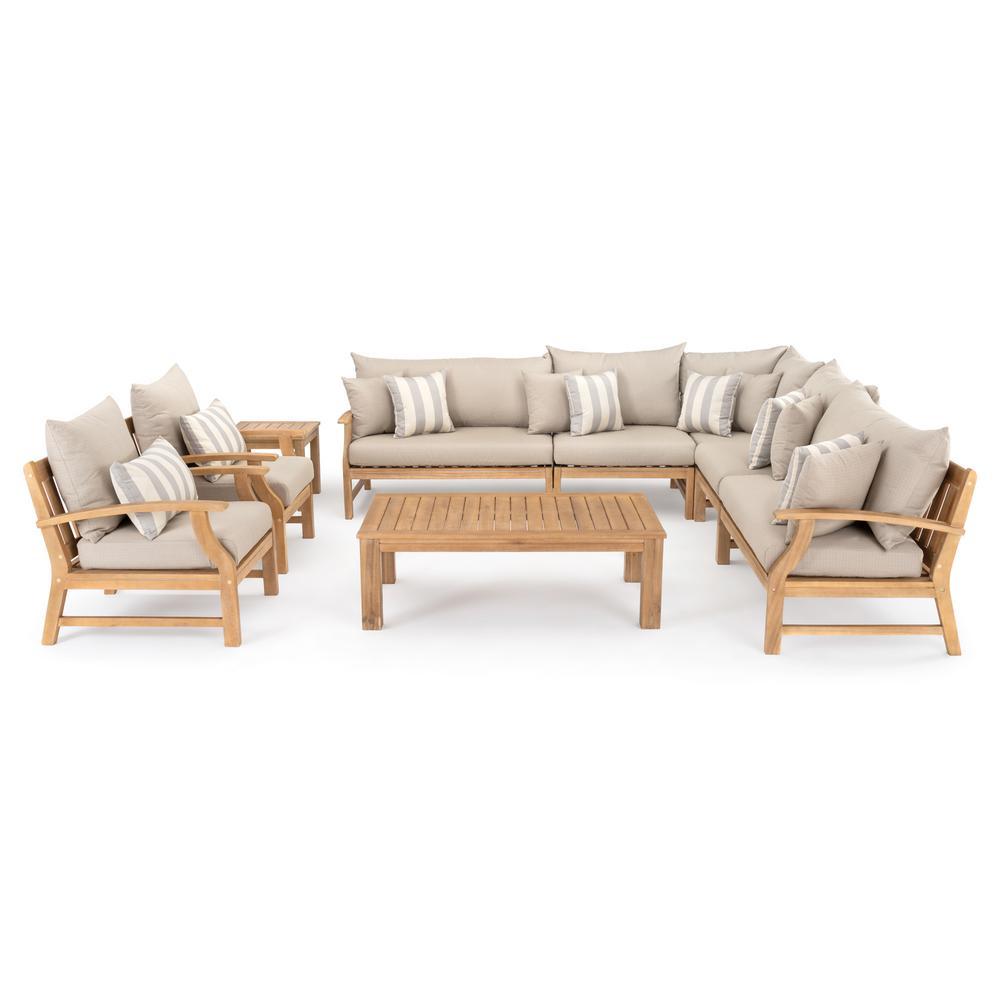 RST Brands Kooper 9-Piece Wicker Patio Deep Seating Conversation Set with Slate Grey Cushions
