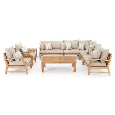 Kooper 9-Piece Wicker Patio Deep Seating Conversation Set with Slate Grey Cushions