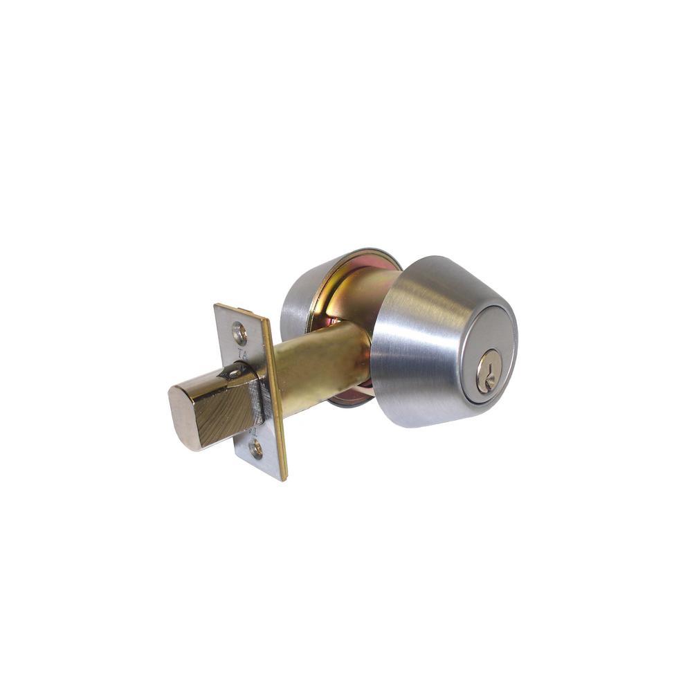 200 Series Grade 3 Double Cylinder Tubular Deadbolt in Satin Stainless