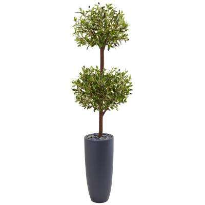 Indoor Olive Double Artificial Tree in Gray Cylinder Planter