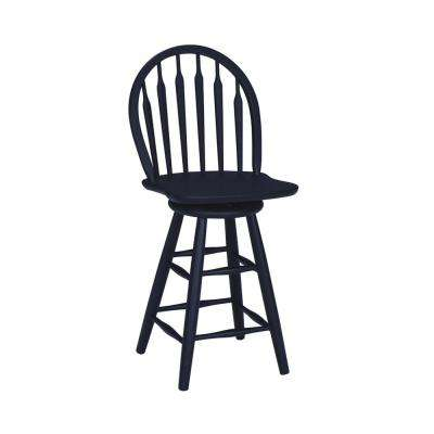 Windsor 24.75 in. Black Swivel Bar Stool