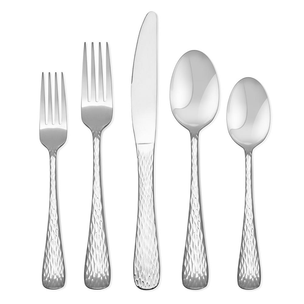 Melody 20 Piece Hammered Flatware Set