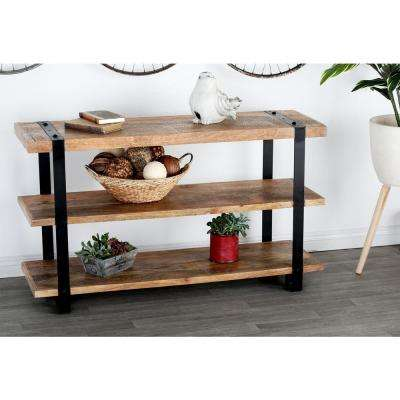 Stained Brown and Black Console Table