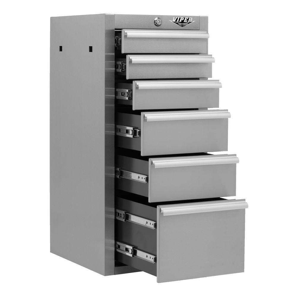 Viper Tool Storage 16 in. 6-Drawer Side Tool Cabinet in 304 Stainless Steel