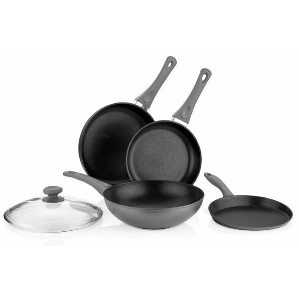 5-Piece Titanium Coated Aluminum Non-Stick Frying Pan Set in Gray