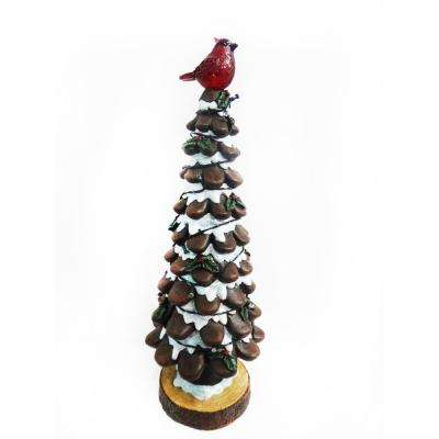 19 in. Christmas Tree with Red Bird Statue Light Decor - TM
