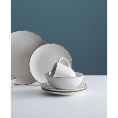 Classic 12-Piece White Stoneware Dinner Set