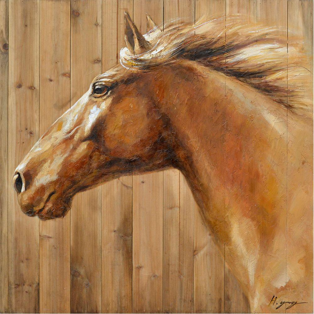 "Yosemite Home Decor 32 in. x 32 in. ""Equine Profile II"" Hand Painted Contemporary Artwork"