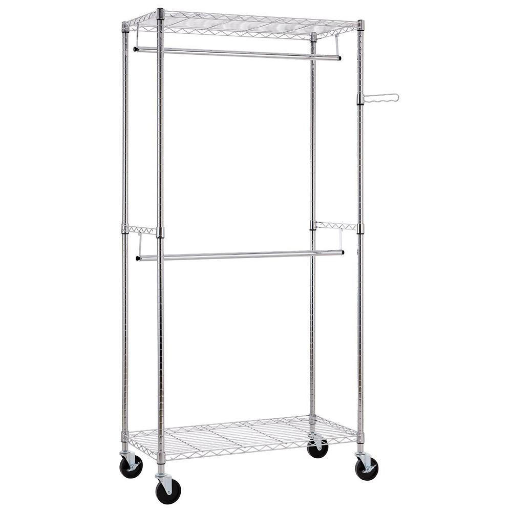 35 in. x 71 in. Carbon Steel Silver Garment Rack