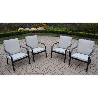 4-Piece Aluminum Outdoor Bistro Set with Oatmeal Cushions