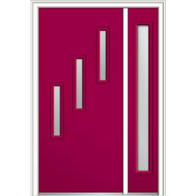 50 in. x 80 in. Davina Frosted Glass Left-Hand Inswing 3-Lite Modern Painted Steel Prehung Front Door with Sidelite