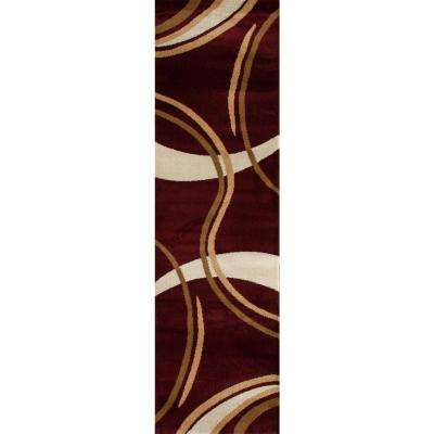 Contemporary Modern Wavy Circles Red 2 ft. x 7 ft. 2 in. Indoor Runner