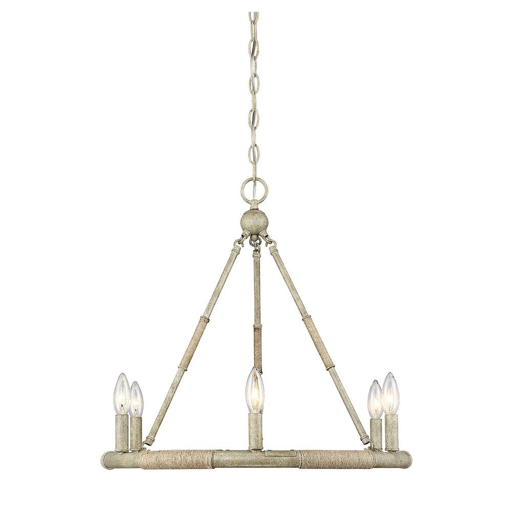 Filament design 6 light natural wood and rope chandelier for Natural wood chandelier