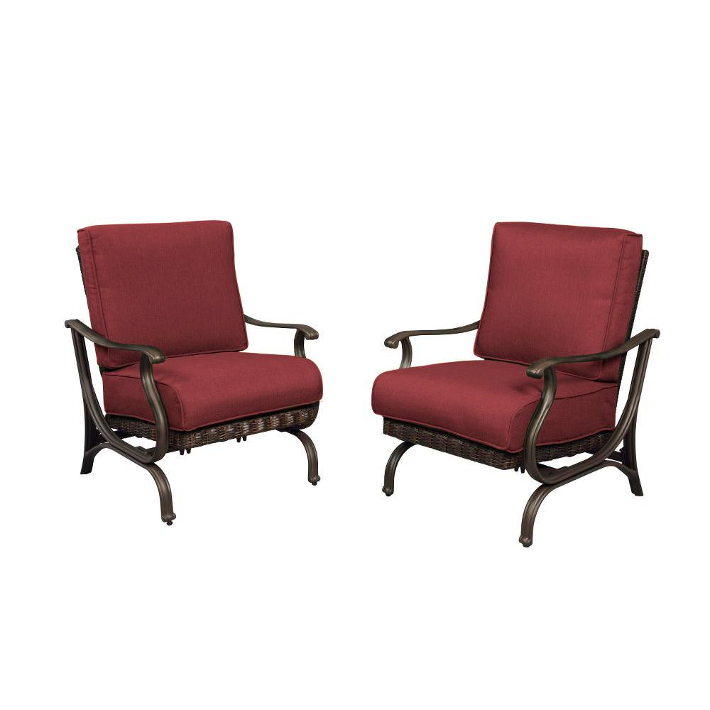 225 & Hampton Bay Pembrey Patio Lounge Chair with Chili Cushions (Pack of 2)