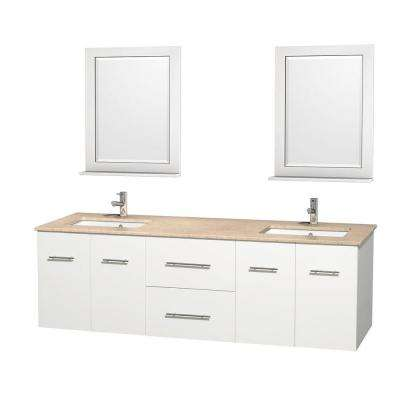 Centra 72 in. Double Vanity in White with Marble Vanity Top in Ivory, Square Sink and 24 in. Mirror