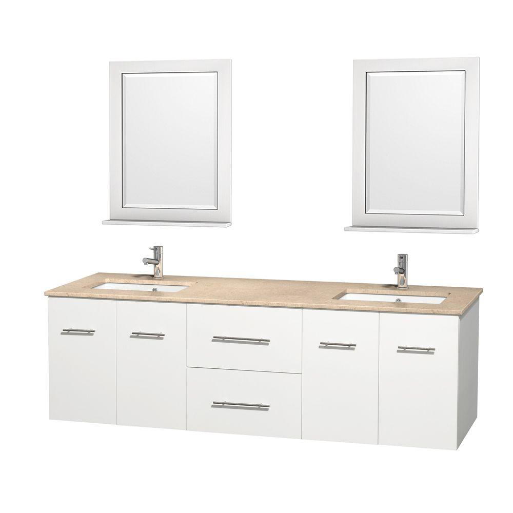 Wyndham Collection Centra 72 in. Double Vanity in White with Marble Vanity Top in Ivory, Square Sink and 24 in. Mirror