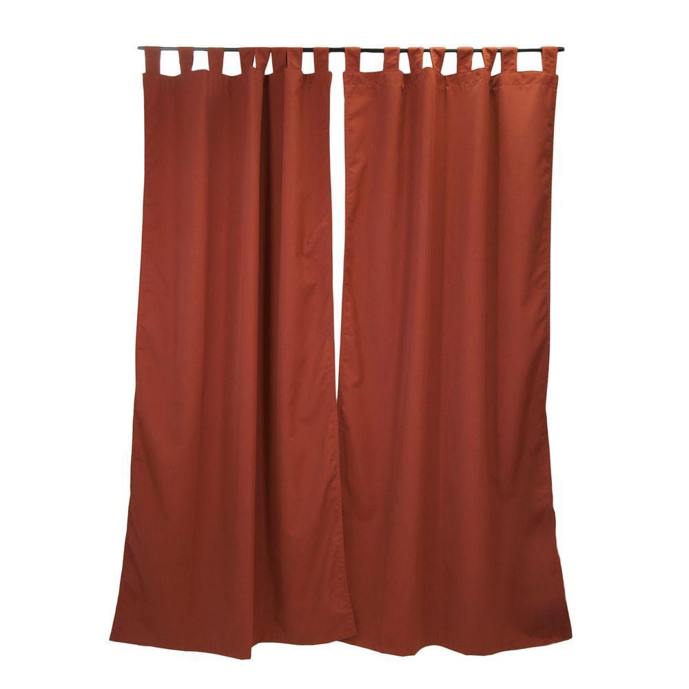 Sunbrella 50 inch x 96 inch Canvas Henna Outdoor Tab Top Curtain Panel by Sunbrella