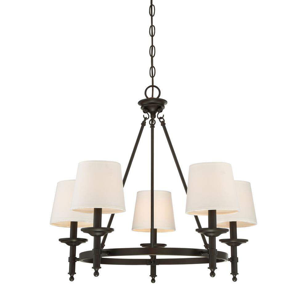 Filament Design 5-Light Oil Rubbed Bronze Chandelier with White ...