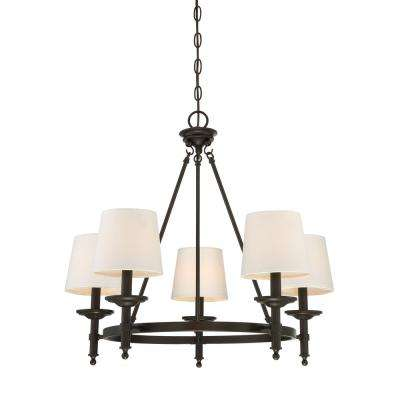 5-Light Oil Rubbed Bronze Chandelier with White Fabric Shade