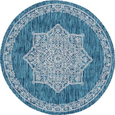 Teal Antique Outdoor 4 ft. Round Area Rug