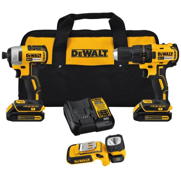 DEWALT 20-Volt MAX Lithium-Ion Cordless Brushless Drill/Driver & Light Combo Kit (3-Tool) W/ (2) Batteries 1.5Ah, Charger & Bag